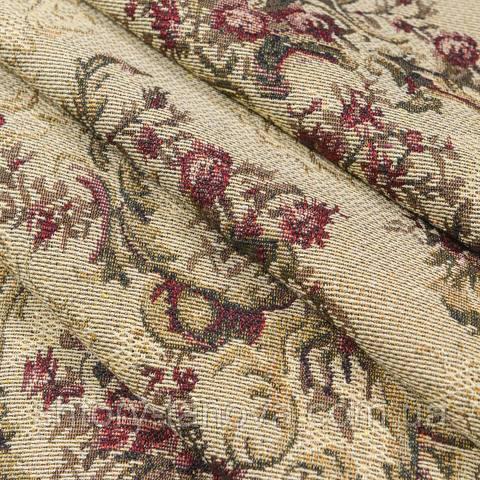 Гобелен ткань, цветочный вензель, тёмно-бежевый
