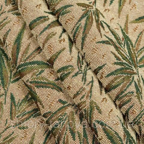 Гобелен ткань, бамбук, бежево-зелёный