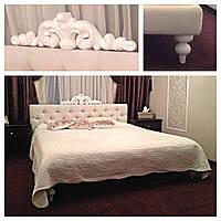 """Двуспальная кровать """"Fusion"""" 160*200 с мягким изголовьем честер и короной на заказ в Одессе"""