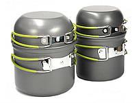Туристичний набір посуду з антипригарним покриттям (2 казанка + 2 чашки) 4 в 1