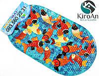 Яркий коврик в ванную на присосках Рыбки Кои 3D122