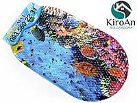 Яркий коврик в ванную на присосках Морской риф 3D133