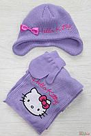 "Комплект фиолетовый (шапка+шарф+варежки) ""Hello Kitty"" (50 см.)  Бренд 2120000433535"