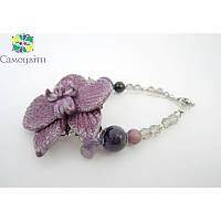 """Эксклюзивный браслет """"Экзотическая орхидея"""" фиолетовое"""