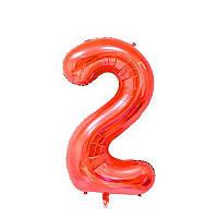 Большой воздушный шар в форме цифры 2 из фольги. 1 м.  Цвет красный