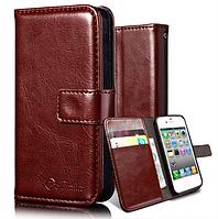 Кожаный чехол-книжка для iPhone 4 4S коричневый