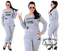 Женский спортивный костюм из ткани  двухнитка + аппликации из страз, Цвет светло серый (меланж)
