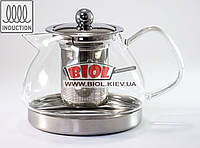 Чайник-заварник стеклянный 800мл с ситом и индукционным дном (можно заваривать на плите)