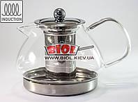Чайник-заварник стеклянный 1200мл с ситом и индукционным дном (можно заваривать на плите)