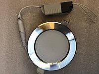 Светодиодная панель  5W 4000K круглая хром  Код.59201