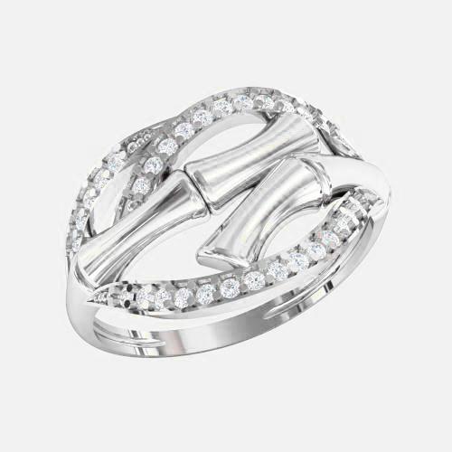 Кольцо  женское серебряное Бамбук KE-1369