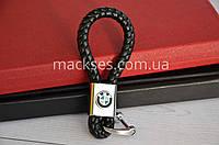 Брелок кожаный на ключи авто Mackses с логотипом BMW Черный