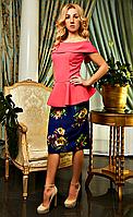 Платье женское с баской кораловое под имитацию костюм