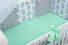 Комплект постільної білизни Asik Котики з салатовим бантом 8 предметів (8-276), фото 6