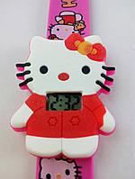 Часы наручные, Детские, Цвет розовый, белый, Браслет розовый, Цифровой дисплей, Hello Kitty.
