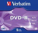 Диски DVD+R 4.7GB Verbatim 43497, слим 5 шт. упаковка джевел