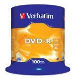 Диски DVD-R 4.7GB Verbatim 100 шт.   шпиндель, Adv. Azo+, 16x, , ,  (43549)
