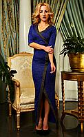 Яркое вечернее платье в пол из плотного трикотажа и красивой отделкой