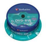 Диски DVD-RW 4,7GB Verbatim 25pkData/Video шпиндель 4X, , Silver (43639)