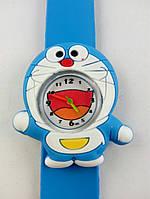 Часы наручные, Детские, Цвет голубой, белый, Браслет голубой, Аналоговый дисплей, Кот
