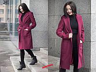 Пальто женское модное с отложным воротником миди из кашемира на подкладке разные цвета Gm245