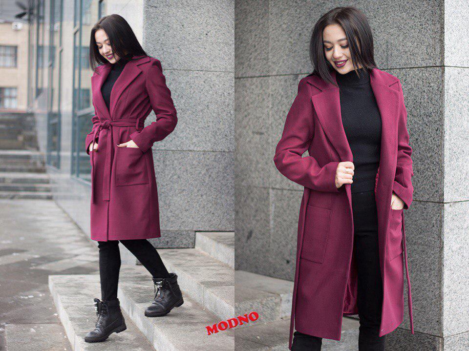 Пальто женское модное с отложным воротником миди из кашемира на подкладке разные цвета Gm245, фото 1