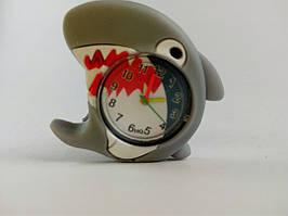 Часы наручные, Детские, Цвет серый, белый, Браслет голубой, Аналоговый дисплей, Акула