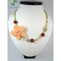 """Ожерелье из сердолика грань """"Экзотическая орхидея"""""""