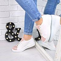 Кроссовки криперы PR белые + пудра , обувь женская
