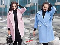Пальто кимоно женское модное с отложным воротником из вареной шерсти разные цвета Gm248