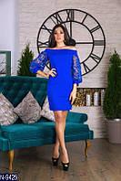 Оригинальное праздничное вечернее платье пышный красивый рукав открытые плечи Фабрика Украина 42,44,46