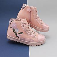 Демисезонные кроссовки с розой для девочки цвет пудра размер 27,28,29,30,31,32