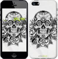 """Чехол на iPhone 5s Череп и розы """"1208c-21-8545"""""""