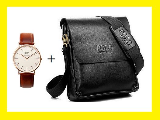 Мужская сумка через плечо Polo Videng. Часы в Подарок!