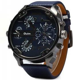 Oulm мужские 3548 2 - механизм кварцевые часы с кожаный ремешок круглый циферблат для мужчин - Пурпурно-синий