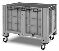 Пластиковые контейнеры 1200 х 800 х 800 цельные 4 колеса