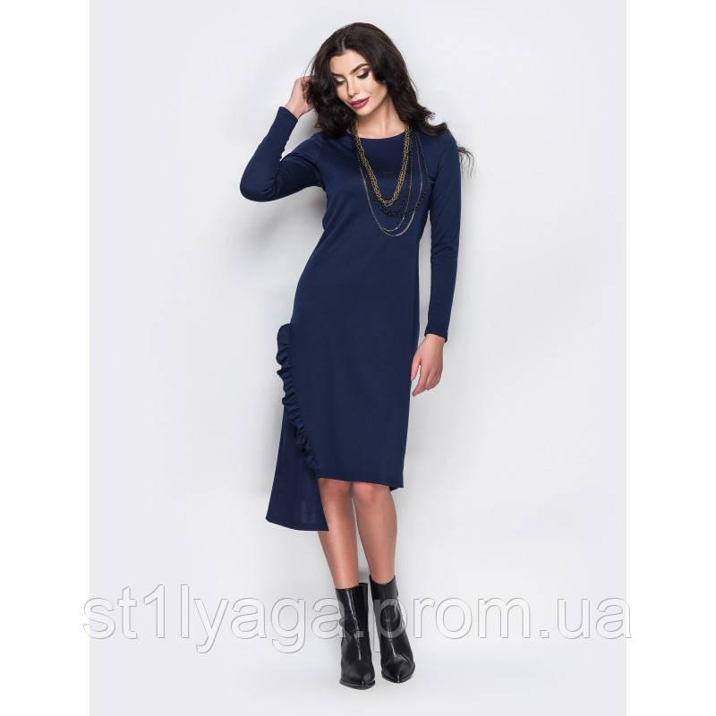 48/L Трикотажное платье с вертикальной оборкой и ассиметричным низом синий