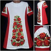 """Оригинальное платье с богатой вышивкой """"Троянда"""", габардин, рост 116-146 см, 370/310 (цена за 1 шт+ 60 гр.)"""