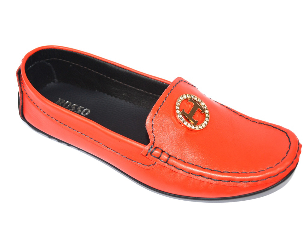 """Мокасины кожаные женская обувь больших размеров Ornella BS Orange by Rosso Avangard цвет оранжевый """"Мандарин"""""""