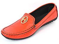 """Женская обувь больших размеров мокасины кожаные Ornella BS Orange by Rosso Avangard цвет оранжевый """"Мандарин"""""""