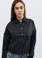 Легкая Демисезонная Куртка с Принтом на Спине Черная