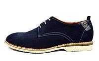 Темно-синие мужские замшевые туфли-дерби VanKristi  ( модные, стильные, новинки весна, лето, осень)