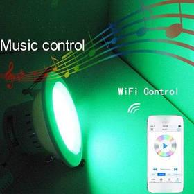 Aoluguya E27 7.5W 3000 - 3200K RGBW беспроводной точечный светильник WiFi светодиодный потолочный светильник регулировка времени с контролем смартфона