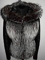 Кожаная куртка с чернобуркой трансформер + жилетка чернобурка