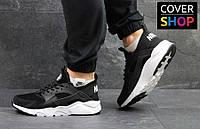 Кроссовки мужские Nike Air Huarache для спорта и туризма, материал - замша+кожа, черно-белые