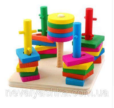 Деревянная игрушка Пирамидка Геометрика, MD 0061, 003073