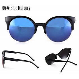 Простой Ретро мода женщины солнцезащитные очки круглый объектив Анти-УФ - 06# синяя ртуть