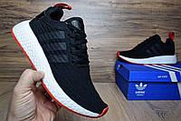 Мужские кроссовки Adidas NMD R2 PK черные c красным на белой Топ Реплика Хорошего качества