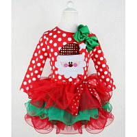 Пышное короткое платье для девочки с Сантой на Рождество и Новый год 100
