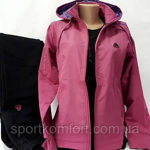 Женский трикотажный спортивный костюм, Соккер, Турция, сирень/чёрный, размер 50.